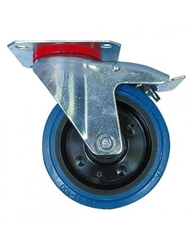 Roulette caoutchouc elastiquebleu pivotante diam. 160 h. 190