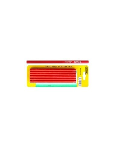 Crayons de menuisier 18 et 25 cm sur carte -  désignation:12 crayons longueur:180 mm