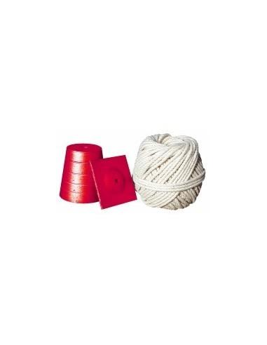 Plomb de macon sur carte -  désignation:plomb n°4 + cordeau cablé ø 2 mm / long. 20 m poids:450 g
