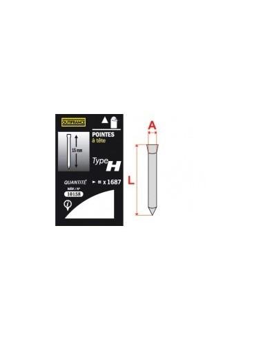 Pointes - type h blibox -  longueur:19 mm quantité:1584 p.