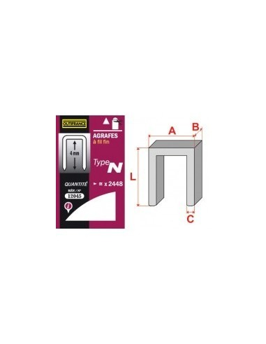 Agrafes - type n blibox -  longueur pattes:12 mm