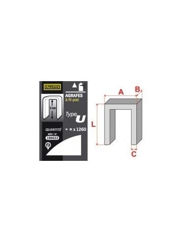 Agrafes - type u blibox -  longueur pattes:6 mm quantité:1260 p.