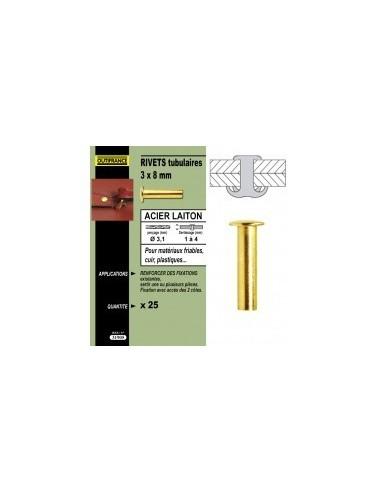 Rivets tubulaires acier / laiton blibox -  désignation:25 rivetsø x long.:3 x 10 mmepaisseur à sertir:2,0 à 6,0 mmø perçag