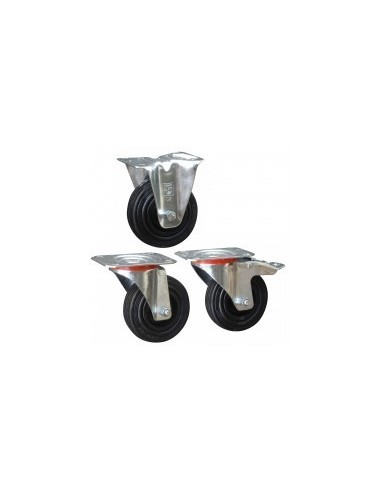 Roulettes caoutchouc sur platine vrac -  désignation:roulette pivotante sans freindiam./charge:fixation:platine 100 x 80 mm