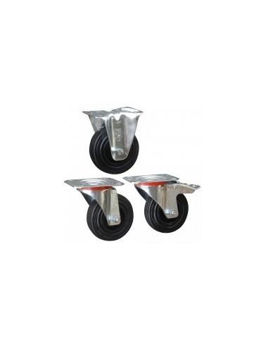 Roulettes caoutchouc sur platine vrac -  désignation:roulette fixe sans freindiam./charge:fixation:platine 140 x 110 mm