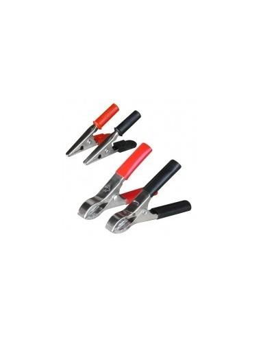 Pince crocodile et cosse batterie blibox -  désignation:jeu de 2 pinces pour cosses de batterie (1 rouge - 1 noire) longueur:80