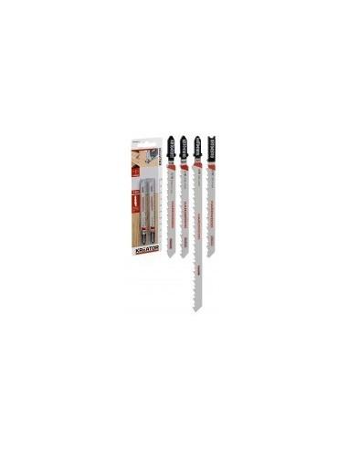 Lames de scies sauteuses bi-metal pour bois dur sur carte -  désignation:2 lames longueur:100 mmdenture:6 tpi - pas de 4 mmfixat