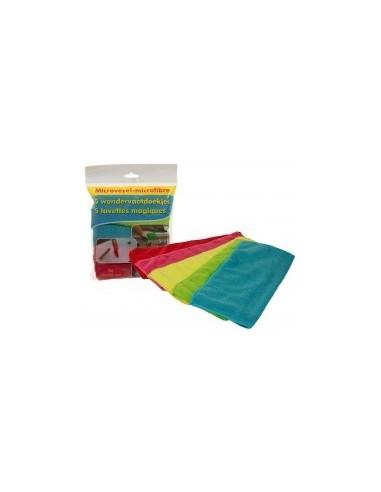 Lavettes magiques microfibres libre service -  désignation:jeu de 5 lavettes microfibres 30 x 30 cm couleurs assorties