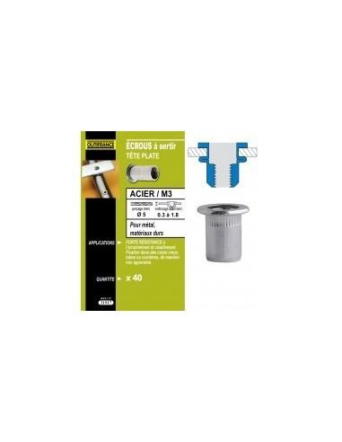 Ecrous a sertir acier tete plate blibox -  désignation:40 écrous m3dimensions tête:ø7 x 0,9 mmepaisseur à sertir:0,5 à 3,0