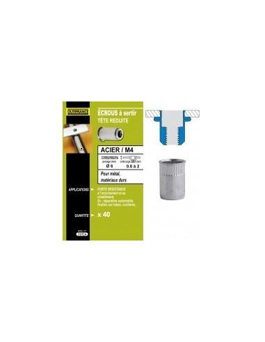 Ecrous a sertir acier tete reduite blibox -  désignation:40 écrous m4dimensions tête:ø7 x 0,6 mmepaisseur à sertir:0,6 à 3,