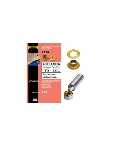 Oeillets laiton et outils de pose blibox -  désignation:50 œillets ø 4 mmepaisseur à sertir:3,0 mmø perçage:4,1 mm