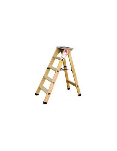 Escabeau bois professionnel film rétractable -  désignation:8 marches + tablette hau. tablette ouverte:191 cm  poids:16 kg