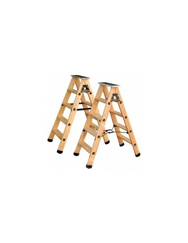 Escabeaux bois professionnels a double plans de montée film rétractable -  désignation:9 marches + tablette hau. tablette ouve