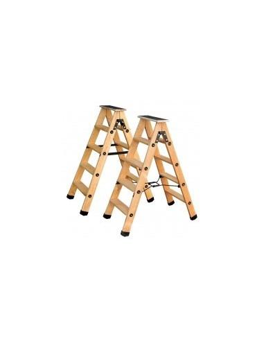 Escabeaux bois professionnels a double plans de montée film rétractable -  désignation:4 marches + tablettehau. tablette ouver