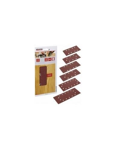 Garnitures rectangulaires sur carte -  désignation:5 patins grain:80 dimensions:115 x 230 mmfixation:auto-agrippante