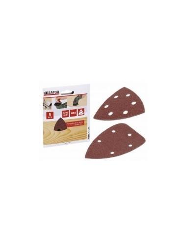 Garnitures triangulaires sur carte -  désignation:5 patins grain:120 dimensions:140 x 140 x 80 mmfixation:auto-agrippante