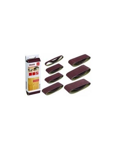 Bandes abrasives sans fin sur carte -  désignation:3 bandes dimensions:75 x 457 mm grain:80