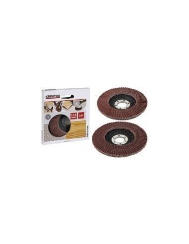 Disques a lamelles pour meuleuses sur carte -  désignation:1 disque grain:80 diamètre:115 mm alésage:22,2 mm