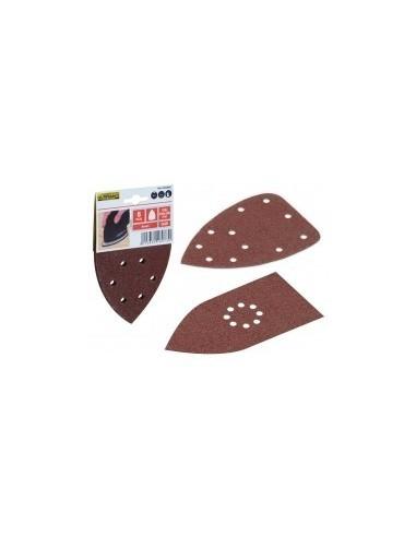 Garnitures triangulaires sur carte -  désignation:5 patins grain:120 dimensions:165 x 165 x 100 mmfixation:auto-agrippante