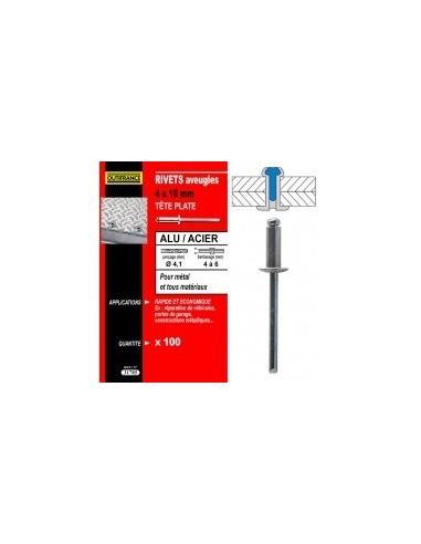 Rivets alu / acier tete plate blibox -  désignation:100 rivetsø rivet x  longueur:4 x 10 mmepaisseur à sertir:5,0 à 6,5 mmø c