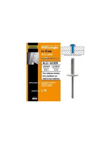 Rivets alu / acier tete large blibox -  désignation:50 rivetsø rivet x  longueur:4,8 x 14 mmepaisseur à sertir:8,0 à 10,0 mmø