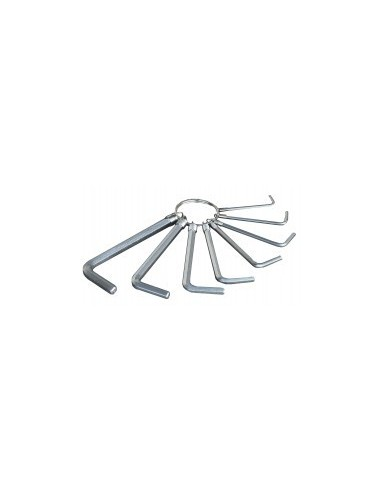 Cles 6 pans sur anneau sur carte - caractéristiques:10 clés : 1,5 - 2 - 2,5 - 3 - 4 - 5 - 5,5 - 6 - 8 - 10 mm