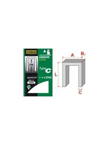 Agrafes - type c boîte -  longueur pattes:6 mm quantité:5000 p.