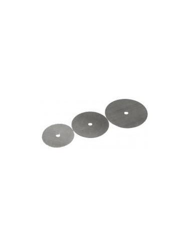Disques scie sur carte -  désignation:3 disques scie diamètre:16 / 19 / 22 mm epaisseur:0,1 mmalèsage:2 mm