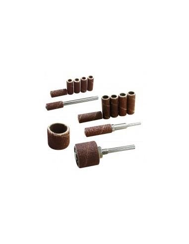 Tambours abrasifs sur carte -  désignation:2 tambours + 1 support diamètre:15 mm grain:60 et 120