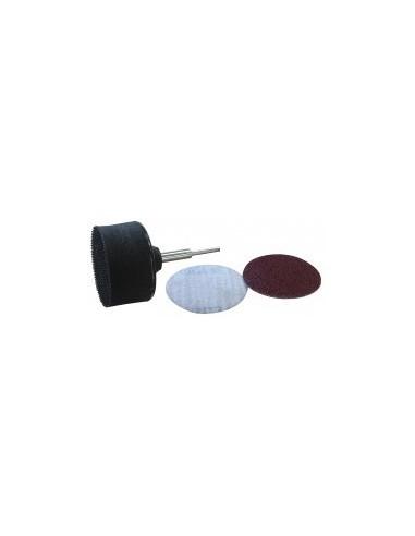 Disques abrasifs scratch  ø 50 mm et porte-disques sur carte - ø:50 mm désignation:1 porte-disques + 2 disques scratch grain:80