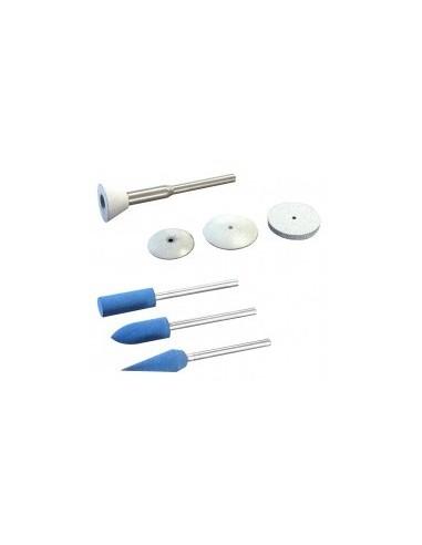 Polissoirs silicone sur carte -  désignation:3 polissoirs silicone assortis forme:cylindrique, ogive et conique ø 6 mm