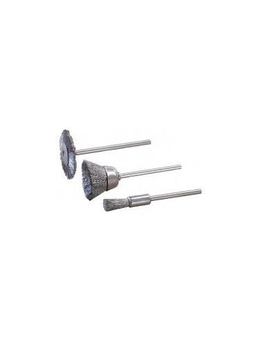 Brosses acier sur carte -  désignation:3 brosses forme:roue 20 mm / cuvette 13 mm / pinceau 4 mm
