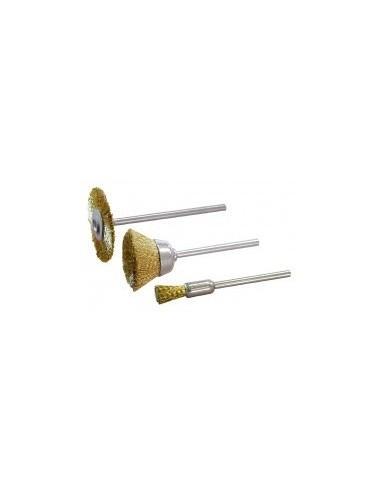 Brosses laiton sur carte -  désignation:3 brosses forme:roue 20 mm / cuvette 13 mm / pinceau 4 mm