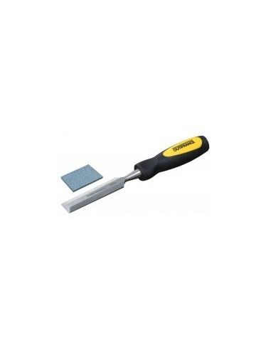 Ciseaux a bois manche bi-matiere vrac - caractéristiques:coffret plastique 6 / 10 / 15 / 20 / 25 mm + pierre d'affûtage