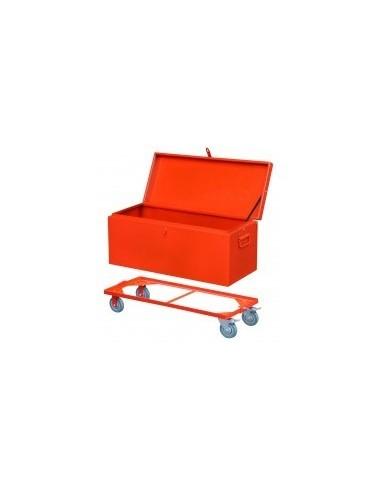 Coffre de chantier acier vrac -  dimensions:chariot pour coffre 650 mm volume: poids:6 kg
