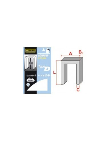 Agrafes - type d boîte -  longueur pattes:8 mm quantité:5000 p.