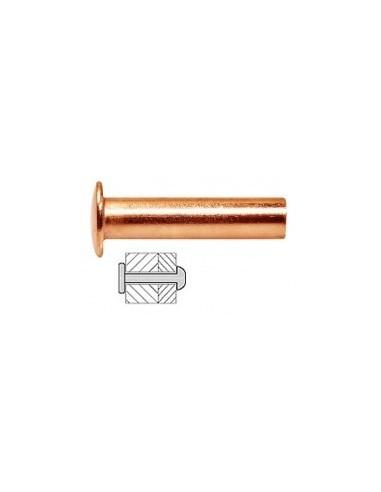 Rivets pleins cuivre blibox -  désignation:25 rivetsø x long.:5 x 20 mmepaisseur à sertir:12 mm maxø perçage:5,1 mm