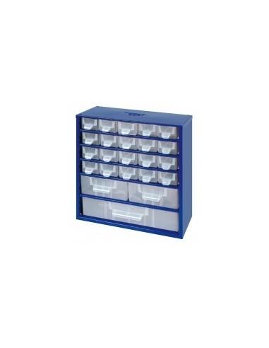 Casiers de rangement acier vrac - réf.:315008 désignation:casier 20 + 3 tiroirs dimensions:305 x 145 x h. 328 mm
