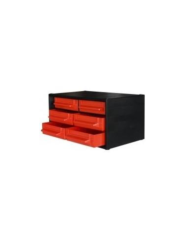 Casiers de rangement vrac - réf.:346002 désignation:casier 6 tiroirs dimensions:280 x 167 x h. 140 mm.