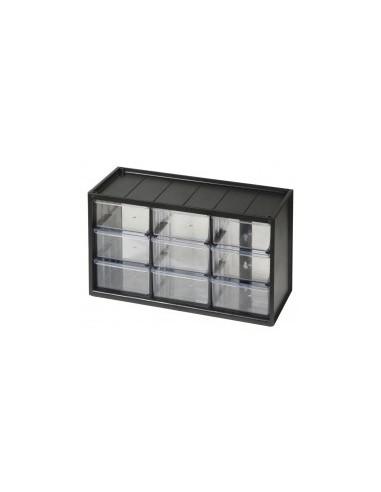 Casiers de rangement vrac -  désignation:casier 9 tiroirs dimensions:365 x 155 x h. 220 mm