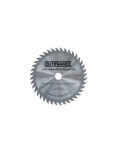 Lames de scies circulaires bois sur carte -  désignation:1 lame diamètre:250 mmnombre de dents:24 alésage:30 mm epaisseur: