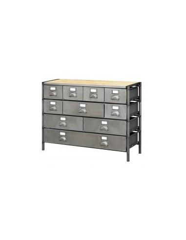 Meuble de rangement industriel 1,20m a composer vrac -  désignation:module 4 petits tiroirs dimensions:1200 x 400 x h. 190 mmpoi