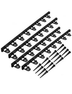 bordure à gazon - pp/pe, noir h4,5 x (4 x l100) cm