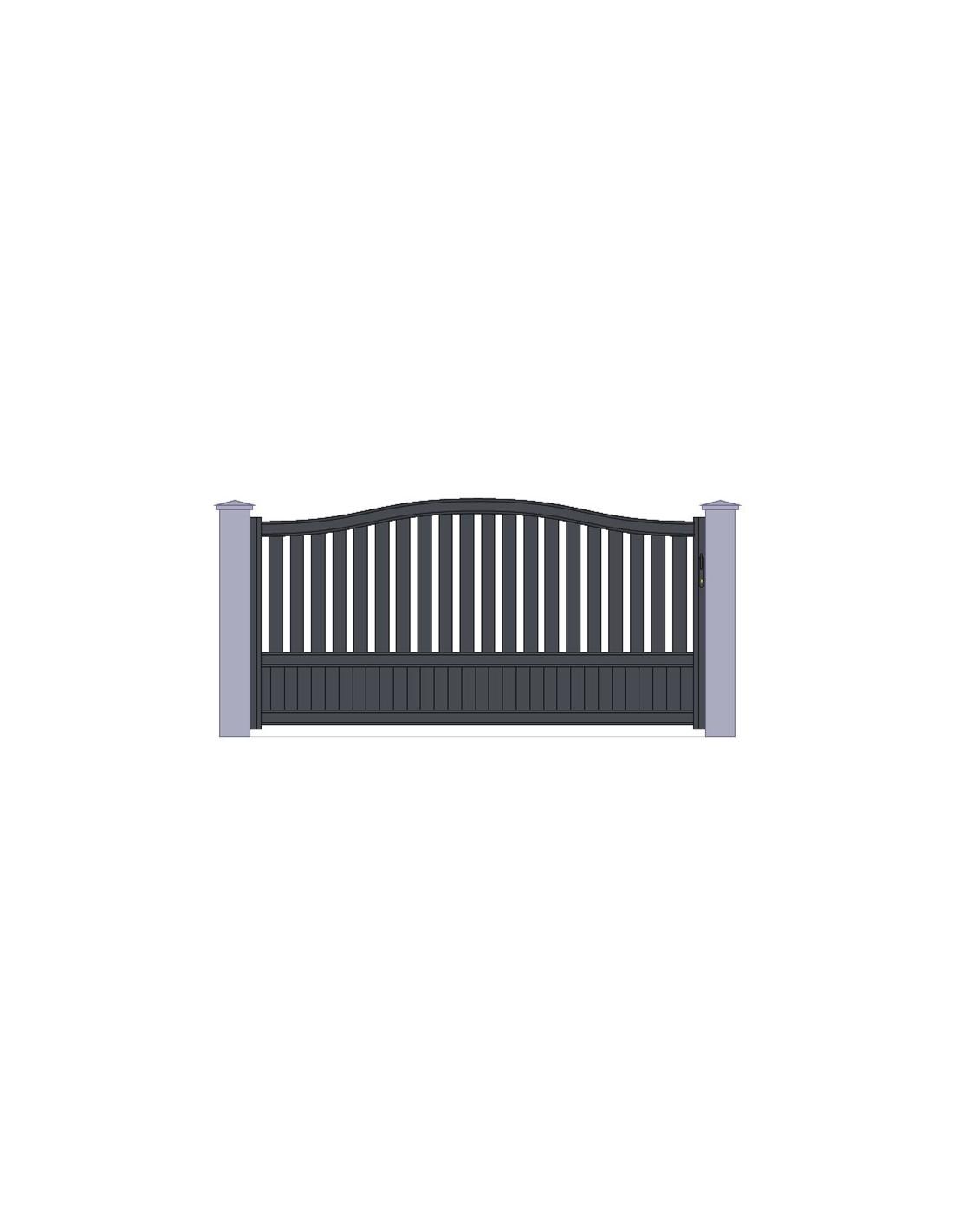 portail aluminiun gris standard coulissant chapeau de. Black Bedroom Furniture Sets. Home Design Ideas