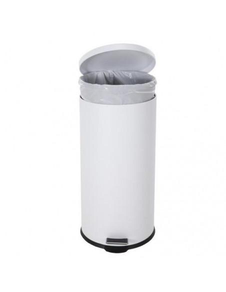 Poubelle 30 litres à pédale blanche - SELEKTA