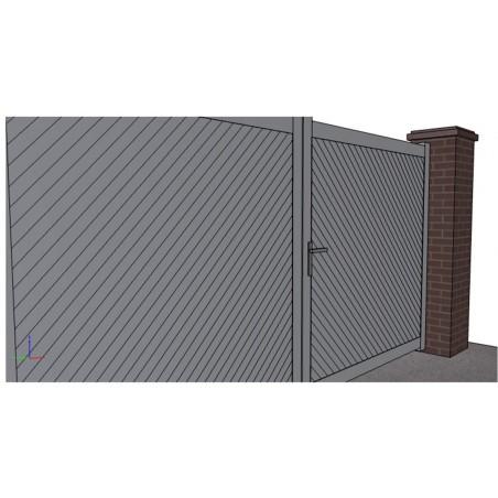 Portail aluminium ouvrant plein droit lames en diagonale sur mesure