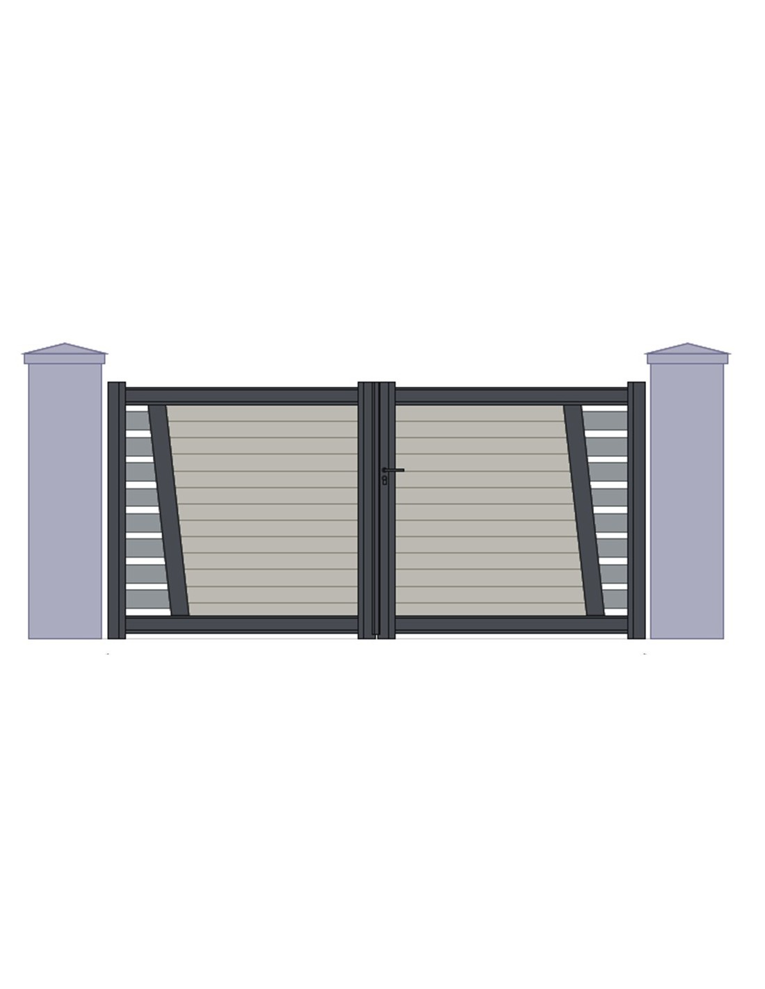portail aluminium perigueux design contemporain sur mesure 3m50 4m 4m50 5m. Black Bedroom Furniture Sets. Home Design Ideas
