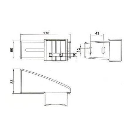 Gâche de portail coulissant blanc, fermeture manuelle