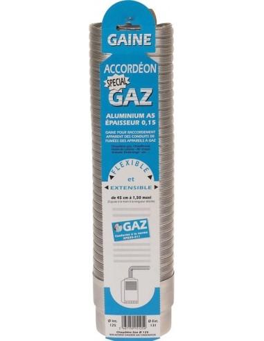 Gaine accordéon gaz extensible aluminium lg 0,45 m à 1,50 m diam 111/116