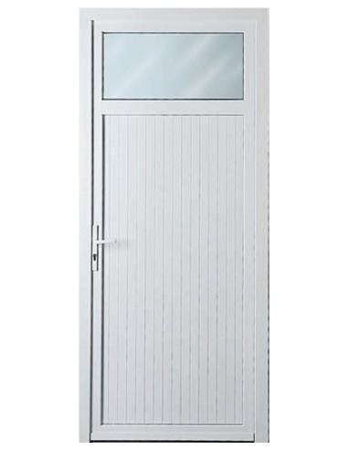 Porte de service blanche pvc avec oculus - Porte pvc blanche ...